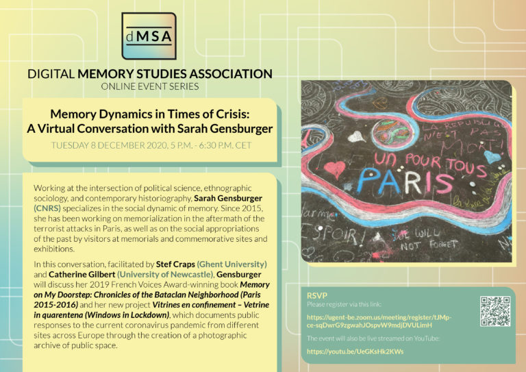 Memory Dynamics in Times of Crisis: A Virtual Conversation with Sarah Gensburger